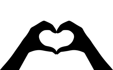 Hands heart vector silhouette icon