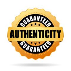 Fototapeta Authenticity guaranteed gold vector emblem obraz