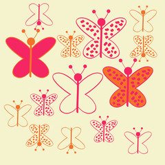 Colored butterfly with ellipses, pattern . Hand drawn.