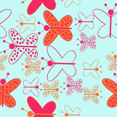 Colored butterfly with ellipses, spots, hole, seamless pattern . Hand drawn.