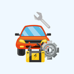 Car service design with car and tools over white background, colorful design vector illustration