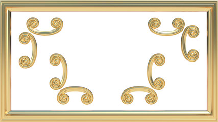 Gold picture frame with a set of decorations to be used along or separately. 3D rendered.