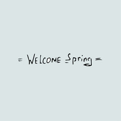 Welcome Spring hand sketched logotype