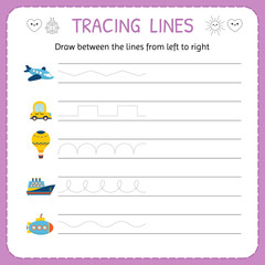 Draw between the lines from left to right. Preschool, kindergarten worksheet for practicing motor skills. Trace line worksheet for kids