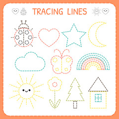 Kindergartens educational game for kids. Preschool tracing worksheet for practicing motor skills. Dashed lines