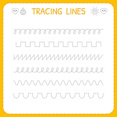 Trace line worksheet for kids. Basic writing. Working pages for children. Preschool or kindergarten worksheet. Trace the pattern