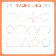 Trace line worksheet for kids. Working pages for children. Preschool or kindergarten worksheet. Trace the shapes