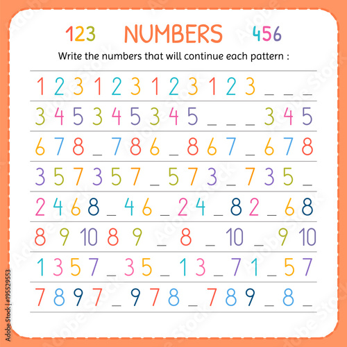 Write the numbers that will continue each pattern. Numbers for kids ...