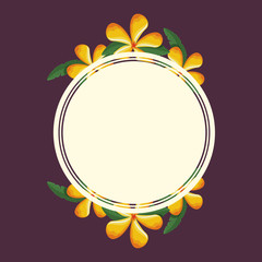 decorative circular frame with yellow tropical flowers over purple background vector illustration