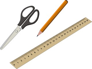 Stationery Office and School Items Set Collection including pencil scissors ruler