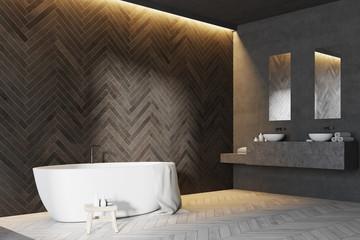 Wooden bathroom corner, white tub
