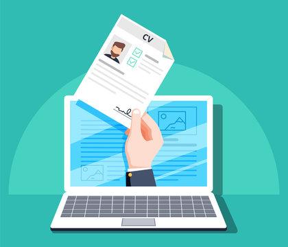 Human resources, online job application, job interview vector concept. Hand holding CV paper. HR management