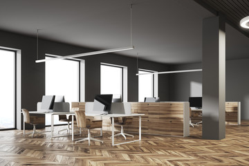 Dark and wooden office corner