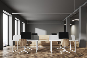 Dark and wooden office interior