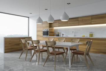 Panoramic kitchen corner, white table, bar