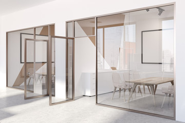 White and beige office meeting room lobby side