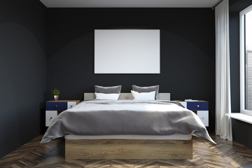 Black wall bedroom interior, poster
