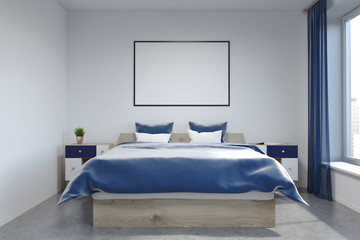 White wall bedroom interior, poster