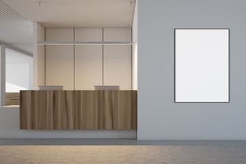 White and wooden office interior, reception poster