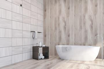 Wooden tiles bathroom corner, bathtub