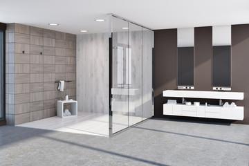 Wooden tiles brown bathroom corner