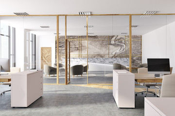 Marble panoramic open space office interior