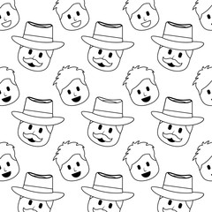 smiling happy faces man with hat and mustache background vector illustration thin line