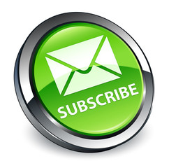 Subscribe (email icon) 3d green round button