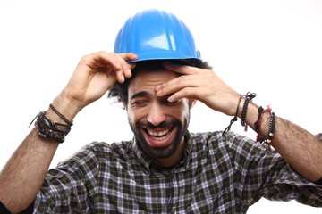 Afro construction worker