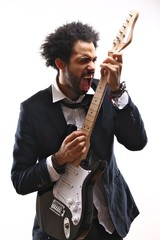 Afro man with a guitar