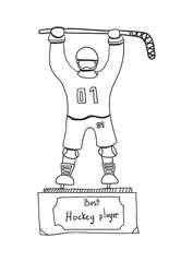 golden hockey statuette, sports award, vector image, flat design, doodle style,black and white icon