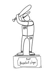 baseball player reward,sports statuette, vector image, doodle style