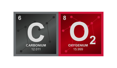 Vector symbol of carbon dioxide  which consists of carbon and oxygen on the background from connected molecules