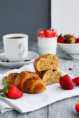 healthy breackfast for healthy Breakfast with delicious croissant and strawberries for early morning