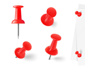 Red push pins isolated on white background. Vector illustration.