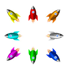 Colorful rocket icons. Vector illustration isolated on white background. EPS10