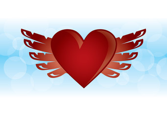 Heart sign in flat design.Red heart. Heart with wings.color line heart with wings symbol love art