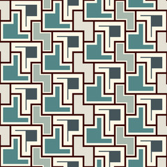 Repeated creative puzzle mosaic abstract background. Seamless surface pattern design with simple geometric ornament