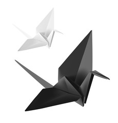 Set of origami paper crane. Vector illustration on white background.