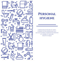 Personal hygiene blue line banner. Set of elements of shower, soap, bathroom, toilet, toothbrush and other cleaning pictograms. Line out. Simple silhouette. Editable stroke. Vector illustration