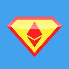 Superhero logo. Crypto currency ethereum.