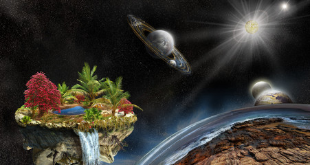 Illustration of fantasy island in space