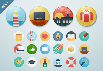 Round Illustrated Icon Set 1