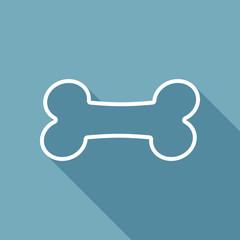 Dog bone icon. White flat icon with long shadow on background