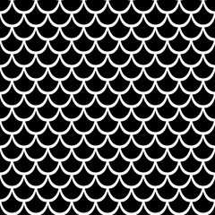 Black texture of fish scales. Seamless vector pattern. Nice for wallpaper, banner, fabric, paper, scrapbook, backdrop.