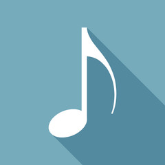 Music note icon. White flat icon with long shadow on background