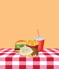 Fast food on kitchen tablecloth, vector