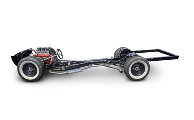Vehicle Chassis with Engine - Side View