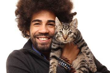 Afro man with a cat