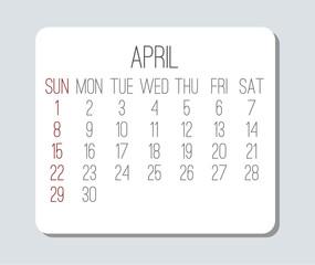 Year 2018 April calendar